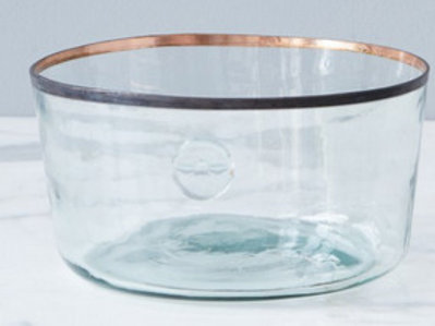 "Recycled Glass Demijohn Bowl with Copper Edge, 11"" dia x 4"" tall"