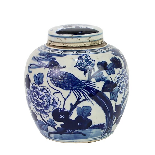 Blue and White Mini Jar with Pheasant and Peony Motif, 6""