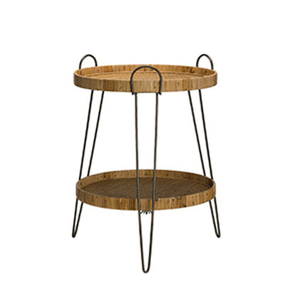 Woven Rattan and Metail 2-Tier Tray