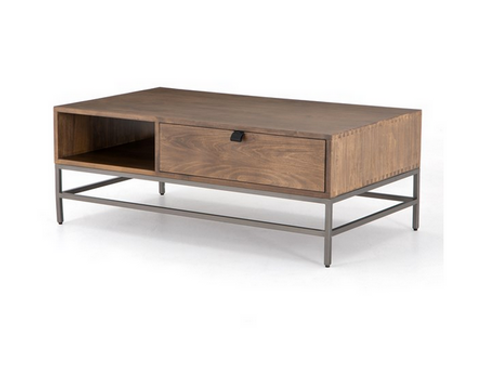 Poplar and Iron Coffee Table with Leather Pulls