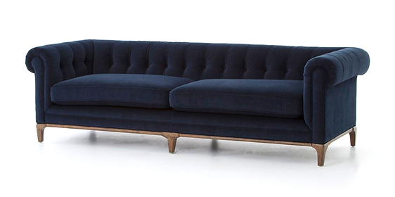 CKEN-F8A3-40, chesterfield blue, texture, sofa, wood, legs, base, tufted, rounded, indgo, navy, interior, design, home, furnishings, Ojai, Califrnia