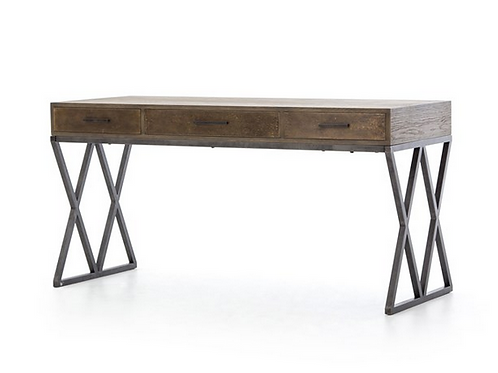 "Grey Oak Desk with Antiqued Brass Finish, 59"" x 24"" x 30"""