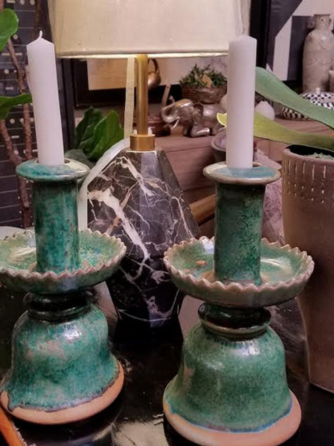 Green Ceramic Candle Holders