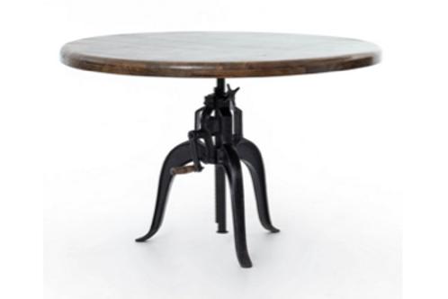 "Adjustable Round Mango Wood Table with Metal Base, 48"" diameter"