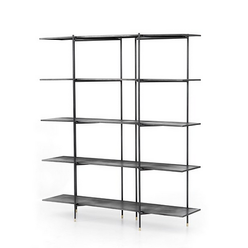 Distressed Iron Bookshelf with Brass Capped Feet