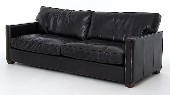 CCAR-25-osb, larkin, 4h, leather, down, sofa, nailhads, interio, design, Ojai, home, furniture, furishings, black