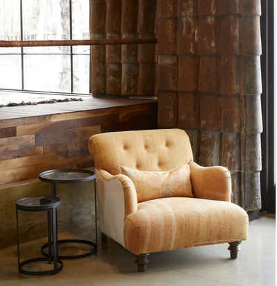 Oversize Chair with Tufted Back Detail and Turned Wood Legs