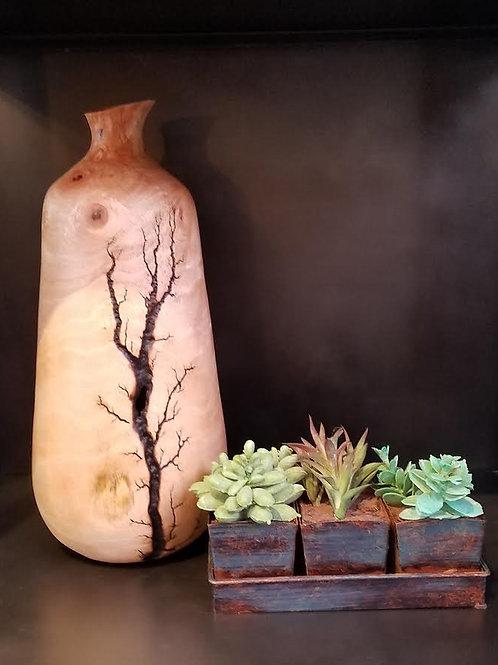 "Etched Mango Vase, 15"" tall"