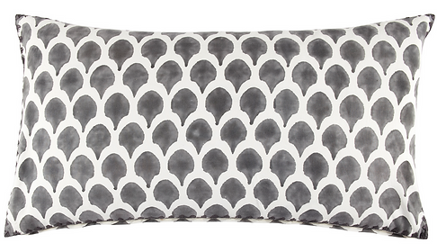 nadole, block, print, printed, handmade, hand made, cotton, hand stitched, gray, grey, white, Ojai, California, design, India, down, fill, soft, beautiful, large, lumbar, rectangle, throw, pillow, simple, design, contrast, charcoal, smoke, polka dots, decorative, cushion, feather, spot, spotted, high end, quality, luxury