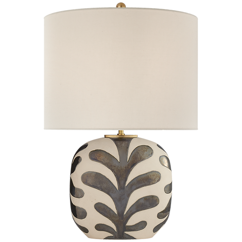 Ivory and Black Porcelain Table Lamp