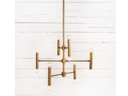 "Mid Century Style Brushed Brass Chandelier, 36"" diameter"