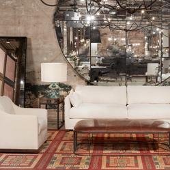 Custom Contemporary Sofa with a Walnut Base