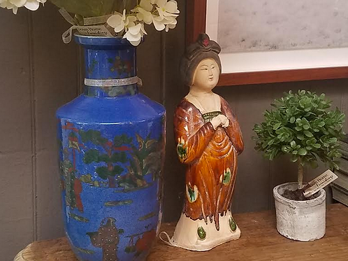 """Hand Painted Blue and Green Ceramic Vase, 16"""" tall"""