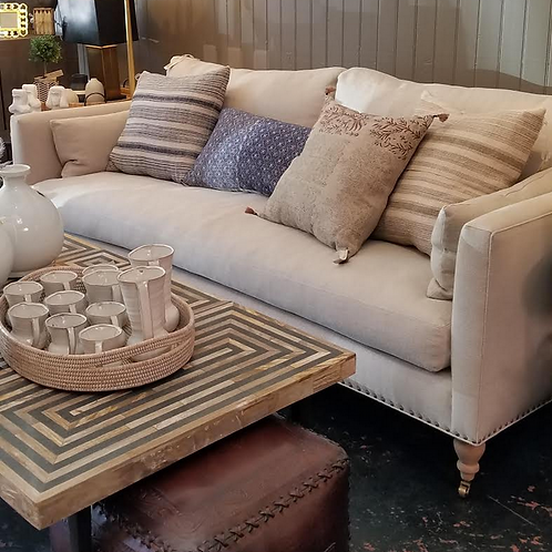 "Custom Sofa with Antique Brass Nail Head Accents and Down Feather Fill, 84"" x 40"