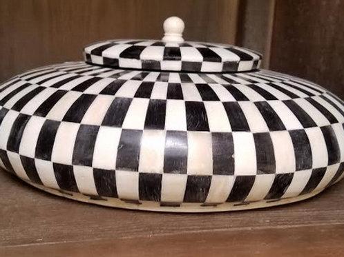 Round Wood Box with Bone Inlay