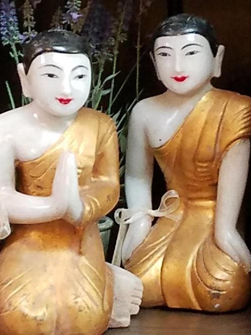 Hand Carved Alabaster Monks, Set of 2