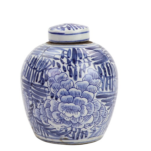 Blue and White Lidded Jar with Blooming Flower Motif