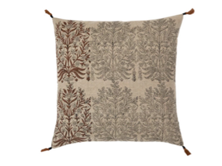 """Hand Block Printed Pillow in Black and Saffron, Down Filled, 20"""" x 20"""""""