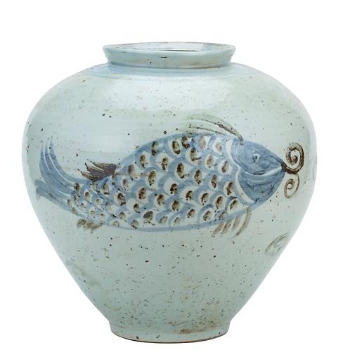 Blue and White Porcelain Koi Fish Jar