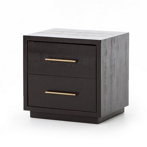 Black Acacia Night Stand with Brass Finished Hardware