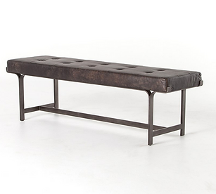 4h, lindy, benc, waxed, leather, ebony, black, brown, metal, frame, tufted, seating, base, interior design, home, furnishings, California