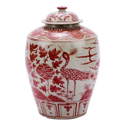 Hand-Painted Porcelain Jar in Red and White