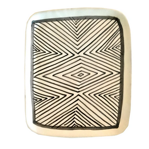 Hand Made Black and White Ceramic Dish, Made in Morocco