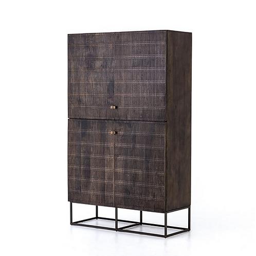 Dark Brown Mango Wood Cabinet on an Iron Base