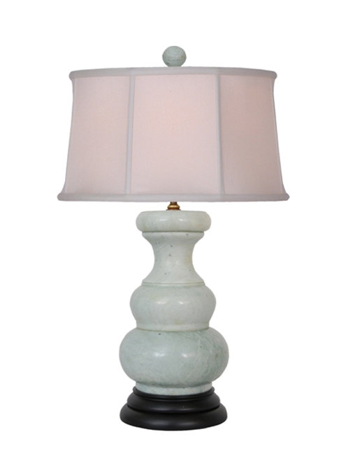 Light Green Jade Table Lamp with Lined Silk Shade