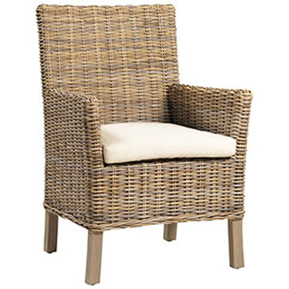 Wicker Dining Chair with Linen Cushion