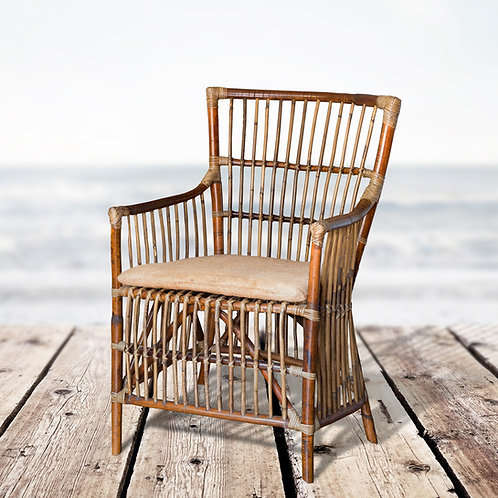 Cane Armchair with Seat Cushion