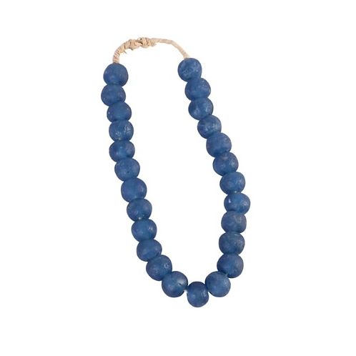 Vintage Sea Glass Beads Dark Blue
