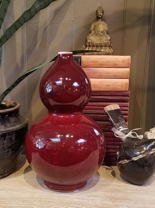 Ceramic Oxblood Glazed Double Gourd Vase
