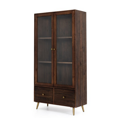 Reclaimed Wood Cabinet with Glass Paneled Doors