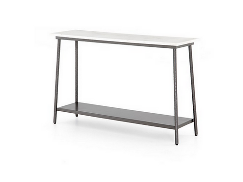 Polished White Marble Console with Hammered Metal Base