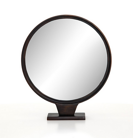 down, home, furnishings, ojai, ca, california, ventura, county, metal, aluminum, round, mirror, table, dark, brown, FHEastTableMirror_IMAR-226.png