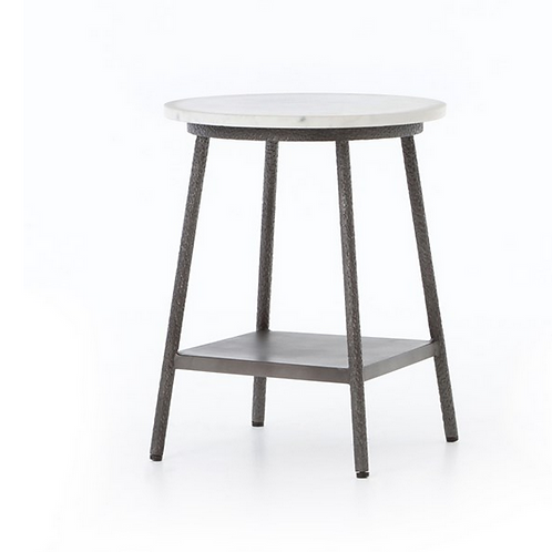 Polished White Marble Night Table with Hammered Metal Base