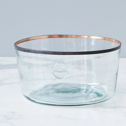 """Recycled Glass Demijohn Bowl with Copper Edge, 11"""" dia x 4"""" tall"""