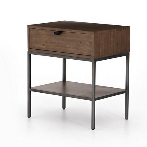 Solid Poplar Nightstand with Metal Secured Leather Pulls
