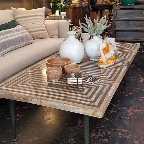 Deco Onyx Inlaid Coffee Table with Iron Legs