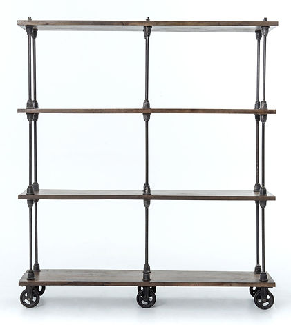 IRCK-060KD, rockwell, 4, wood, mango, iron, cast, book, shelf, shelves, shelving, display, open, tall, narrow, casters, wheels, rollers, pipe, piping, beautiful, Ojai, California, furniture