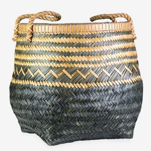 "Black and Tan Bamboo Basket, 22"" x 22"" x 22"""