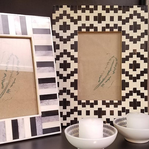 "Black and White Bone Picture Frame, 4"" x 6"""