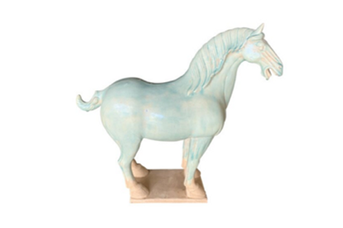 Ceramic Horse in Light Turquoise Glaze
