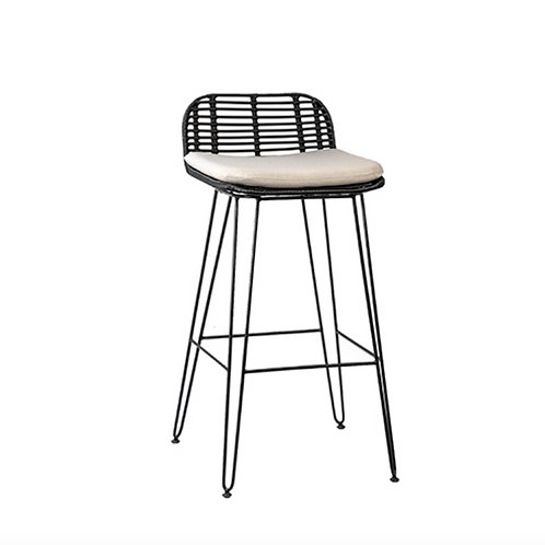Iron and Faux Rattan Barstool with Hairpin Legs and Gray Cushion