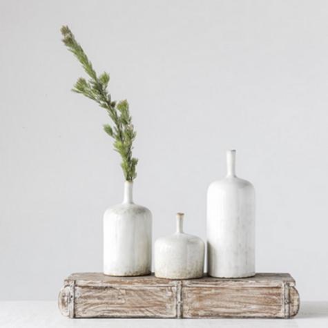 Stoneware Vase with Reactive White Glaze