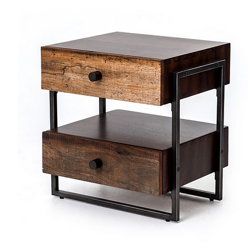 Distressed Peroba Wood End Table with Iron Pulls