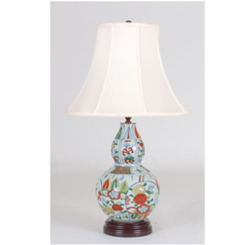 "Hand Painted Double Gourd Vase Table Lamp, 27"" tall"