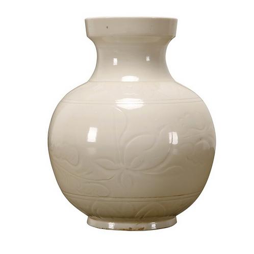 Off White Glazed Ceramic Vase with Floral Design
