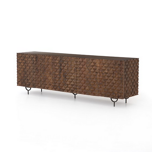 Mango Media Console with Carved Doors